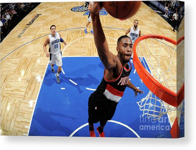 Moe Harkless Canvas Print featuring the photograph Portland Trail Blazers V Orlando Magic by Fernando Medina