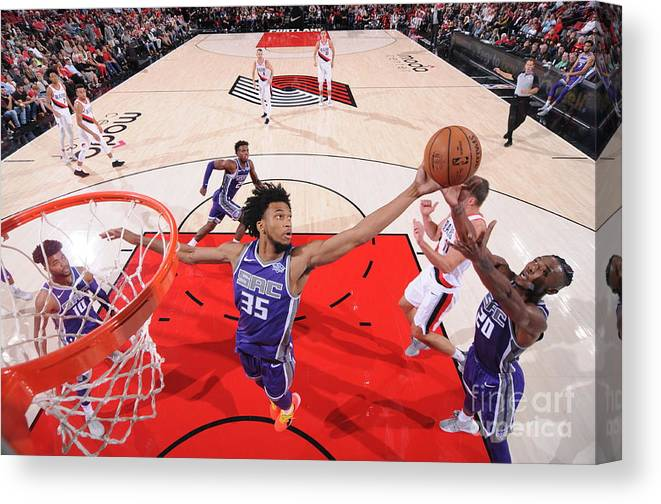 Nba Pro Basketball Canvas Print featuring the photograph Sacramento Kings V Portland Trail by Sam Forencich