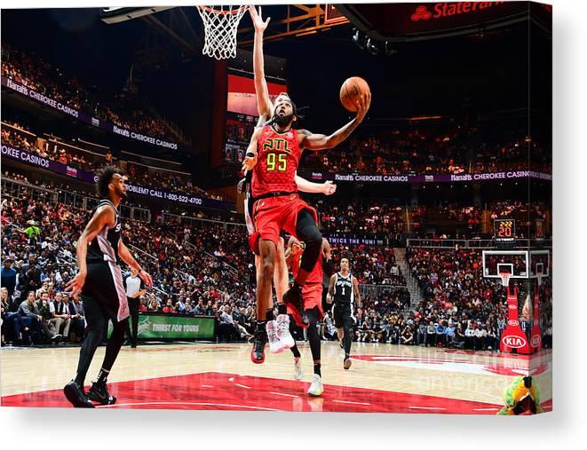 Atlanta Canvas Print featuring the photograph San Antonio Spurs V Atlanta Hawks by Scott Cunningham