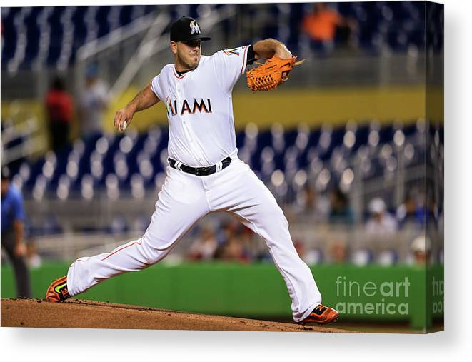 People Canvas Print featuring the photograph Washington Nationals V Miami Marlins by Rob Foldy