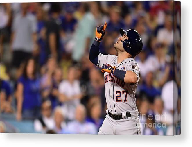 Game Two Canvas Print featuring the photograph World Series - Houston Astros V Los by Harry How