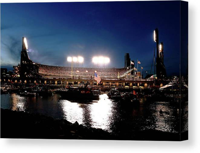 San Francisco Canvas Print featuring the photograph World Series - Kansas City Royals V San by Rob Carr