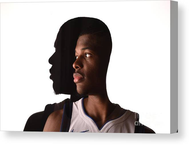 Looking Over Shoulder Canvas Print featuring the photograph 2017 Nba Rookie Photo Shoot by Brian Babineau