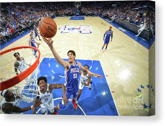 Playoffs Canvas Print featuring the photograph Brooklyn Nets V Philadelphia 76ers - by Jesse D. Garrabrant