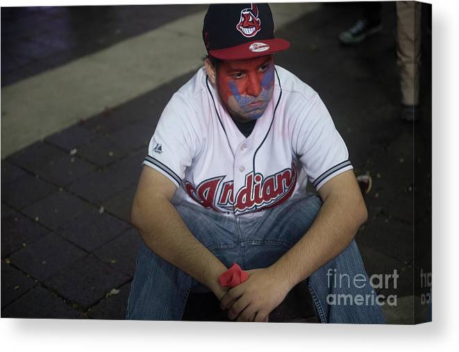 Cleveland Indians Canvas Print featuring the photograph Cleveland Indians Fans Gather To The by Justin Merriman