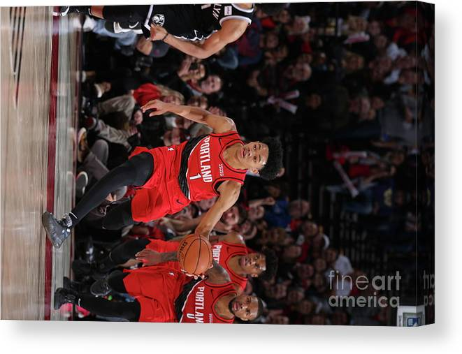 Nba Pro Basketball Canvas Print featuring the photograph Brooklyn Nets V Portland Trail Blazers by Sam Forencich