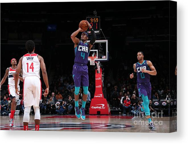 Nba Pro Basketball Canvas Print featuring the photograph Charlotte Hornets V Washington Wizards by Ned Dishman