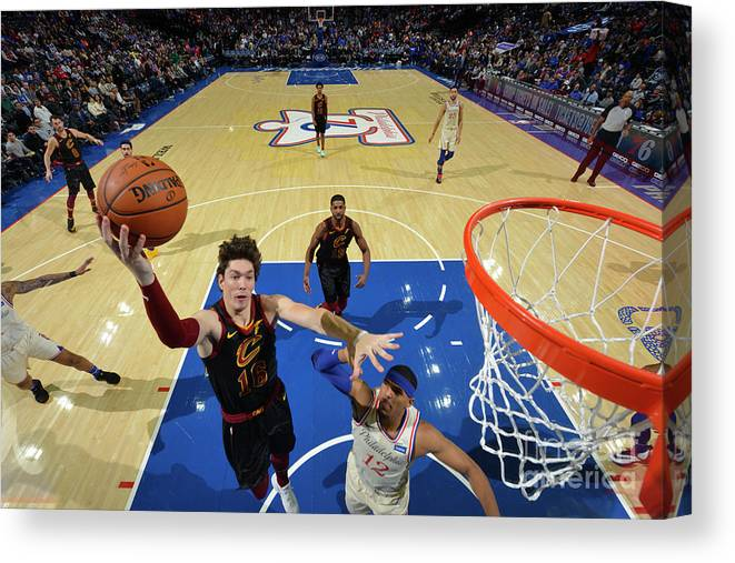 Nba Pro Basketball Canvas Print featuring the photograph Cleveland Cavaliers V Philadelphia 76ers by Jesse D. Garrabrant