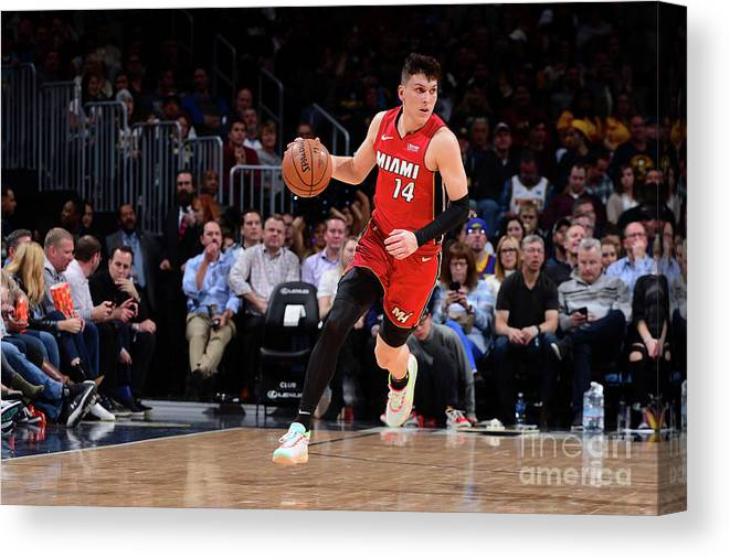 Tyler Herro Canvas Print featuring the photograph Miami Heat V Denver Nuggets by Bart Young