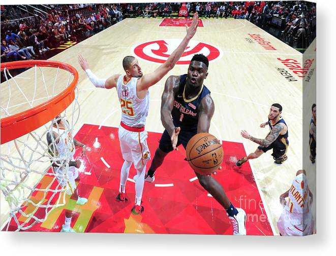 Atlanta Canvas Print featuring the photograph New Orleans Pelicans V Atlanta Hawks by Scott Cunningham
