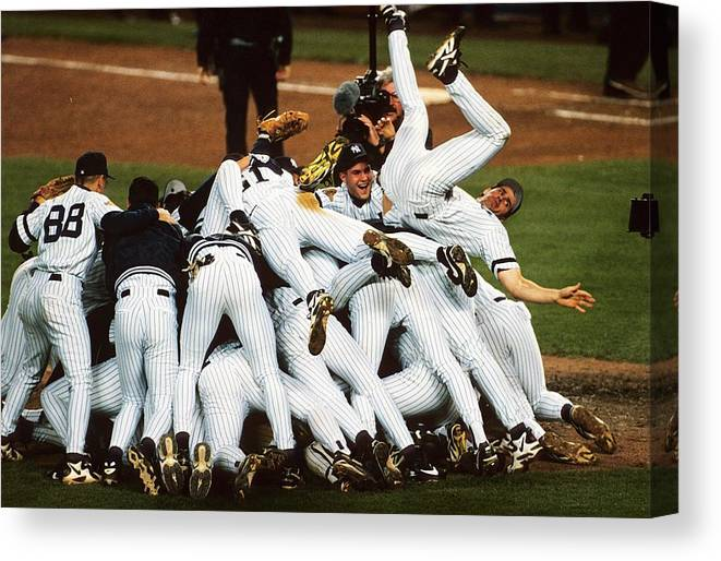 American League Baseball Canvas Print featuring the photograph New York Yankees by Ronald C. Modra/sports Imagery