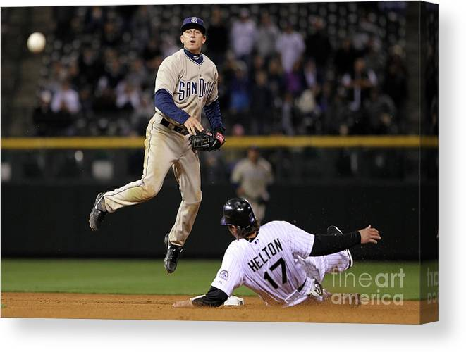 Double Play Canvas Print featuring the photograph San Diego Padres V Colorado Rockies by Doug Pensinger