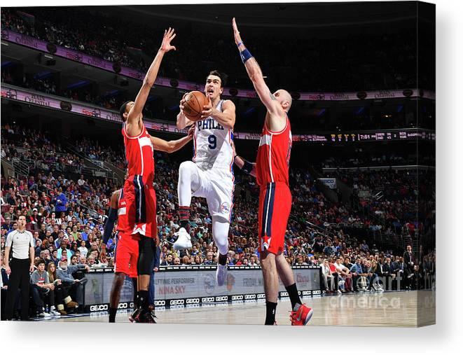 Nba Pro Basketball Canvas Print featuring the photograph Washington Wizards V Philadelphia 76ers by Jesse D. Garrabrant