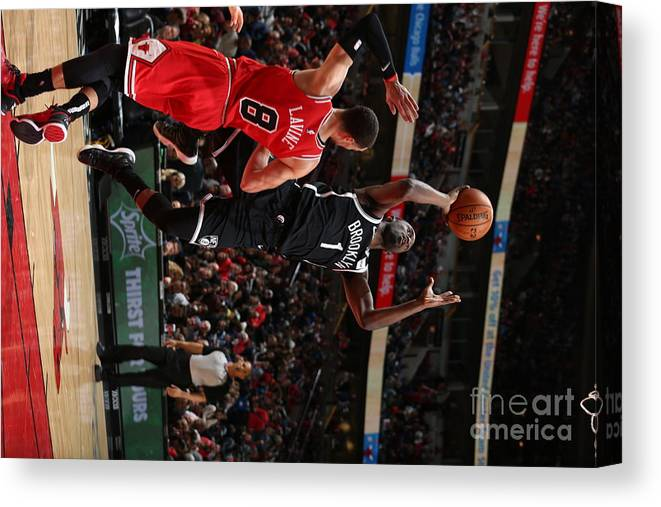 Nba Pro Basketball Canvas Print featuring the photograph Brooklyn Nets V Chicago Bulls by Gary Dineen