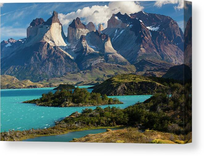 Scenics Canvas Print featuring the photograph Chile, Torres Del Paine National Park by Walter Bibikow