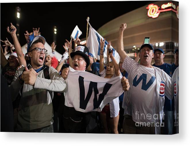 Celebration Canvas Print featuring the photograph Cleveland Indians Fans Gather To The by Justin Merriman