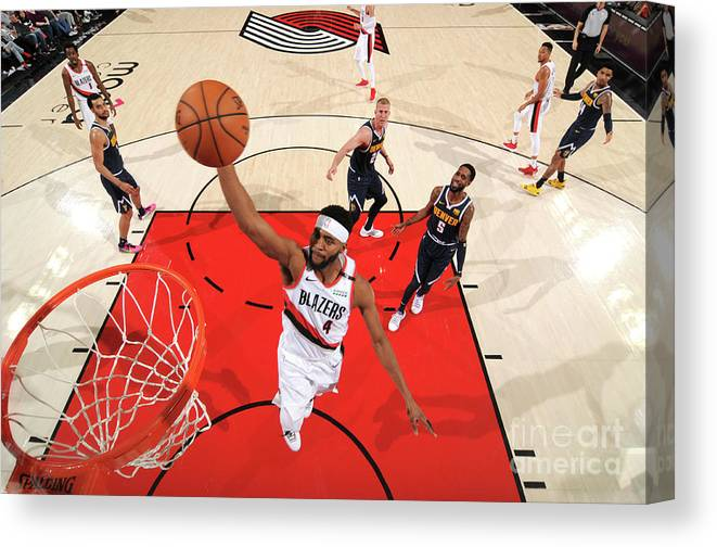 Moe Harkless Canvas Print featuring the photograph Denver Nuggets V Portland Trail Blazers by Cameron Browne