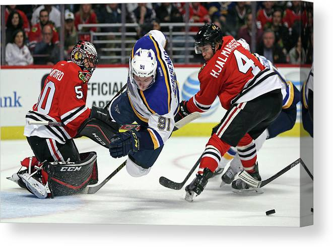Playoffs Canvas Print featuring the photograph St. Louis Blues V Chicago Blackhawks - by Jonathan Daniel