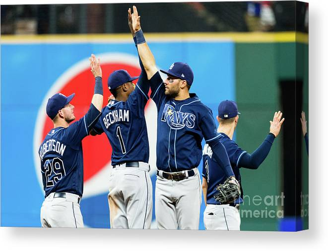 Three Quarter Length Canvas Print featuring the photograph Tampa Bay Rays V Cleveland Indians by Jason Miller