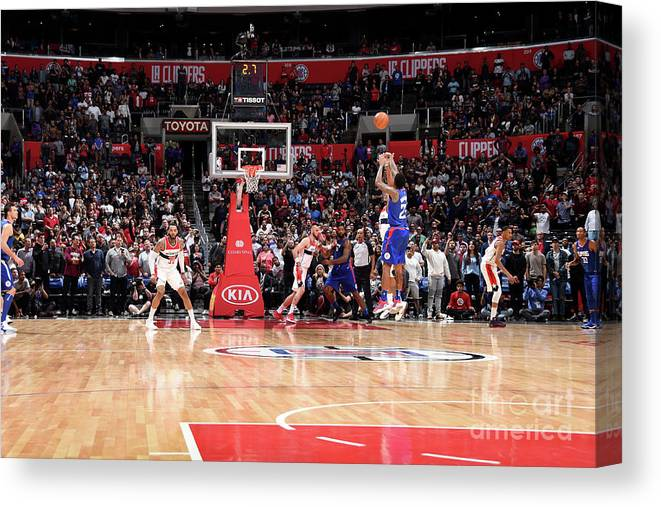 Nba Pro Basketball Canvas Print featuring the photograph Washington Wizards V La Clippers by Andrew D. Bernstein
