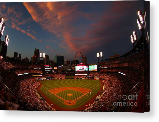 American League Baseball Canvas Print featuring the photograph Atlanta Braves V St Louis Cardinals by Dilip Vishwanat