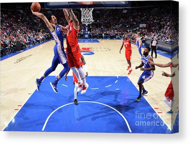 Nba Pro Basketball Canvas Print featuring the photograph Houston Rockets V Philadelphia 76ers by Jesse D. Garrabrant