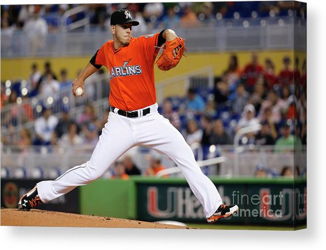 People Canvas Print featuring the photograph Los Angeles Dodgers V Miami Marlins by Rob Foldy