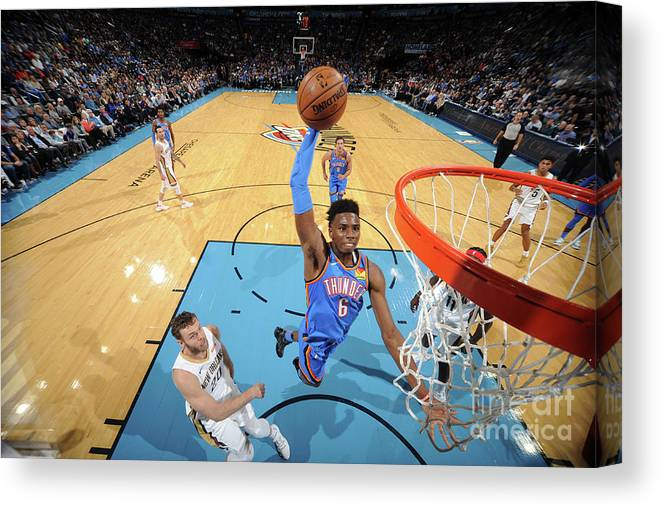 Nba Pro Basketball Canvas Print featuring the photograph New Orleans Pelicans V Oklahoma City by Bill Baptist