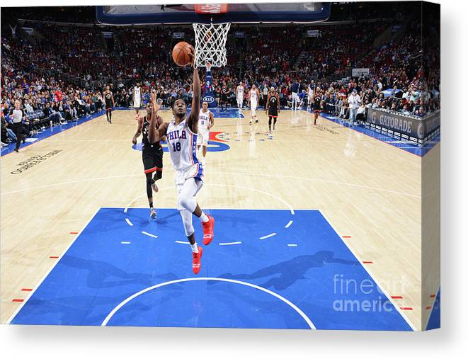 Nba Pro Basketball Canvas Print featuring the photograph Toronto Raptors V Philadelphia 76ers by Jesse D. Garrabrant