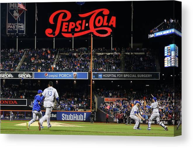 American League Baseball Canvas Print featuring the photograph World Series - Kansas City Royals V New by Al Bello