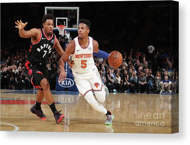 Nba Pro Basketball Canvas Print featuring the photograph Toronto Raptors V New York Knicks by Nathaniel S. Butler