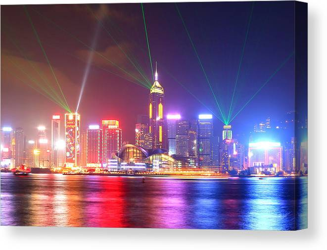 Tranquility Canvas Print featuring the photograph A Symphony Of Lights by Liu Wai Yip Even