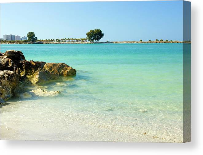 Clearwater Canvas Print featuring the photograph A View Of A Clear Beach During A Summer by Bluehill75