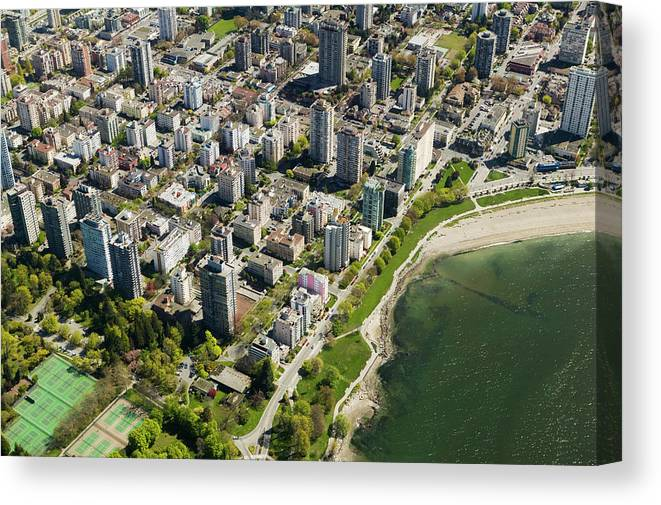Outdoors Canvas Print featuring the photograph Aerial Of West End, Vancouver by Lucidio Studio, Inc.