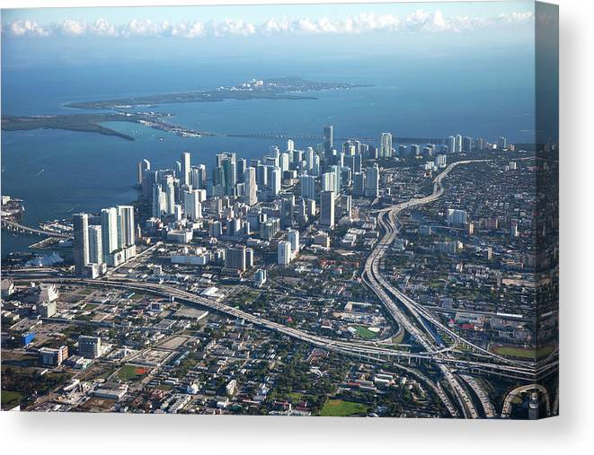 Outdoors Canvas Print featuring the photograph Aerial View Of Miami by Buena Vista Images