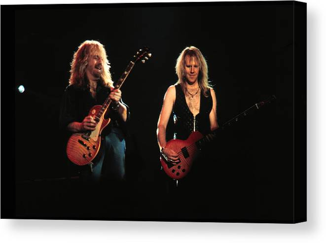 Tom Hamilton Canvas Print featuring the photograph Aerosmith Performing In Mn by Jim Steinfeldt