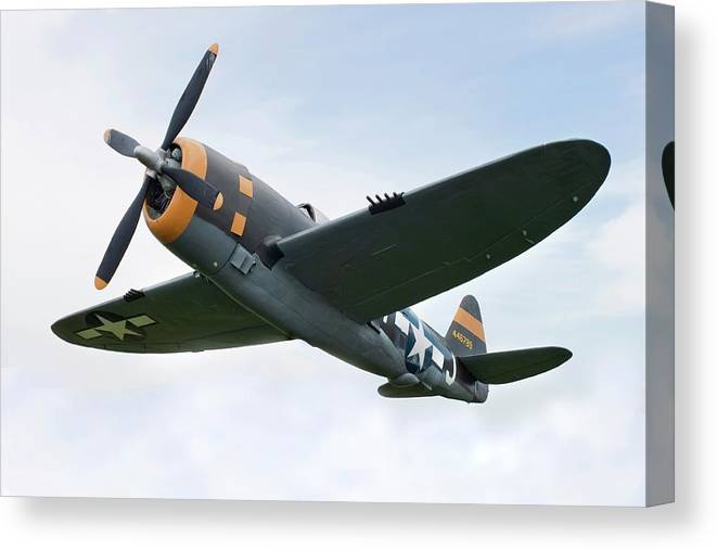 Air Attack Canvas Print featuring the photograph Airplane P-47 Thunderbolt From World by Okrad