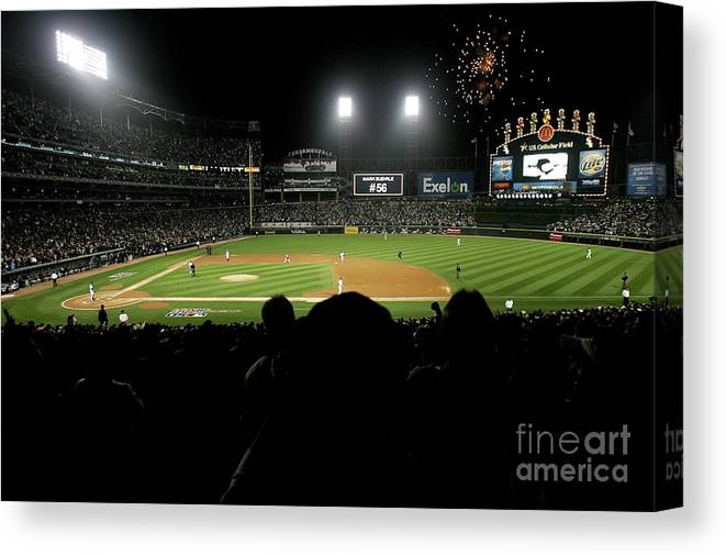 Game Two Canvas Print featuring the photograph Alcs Los Angeles Angels Of Anaheim V by Jonathan Daniel