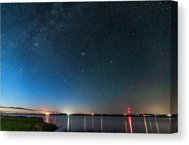 Alberta Canvas Print featuring the photograph Andromeda Galaxy Rising Over Mcgregor by Alan Dyer