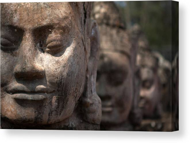 Art Canvas Print featuring the photograph Angkor Warriors by Romulo Rejon