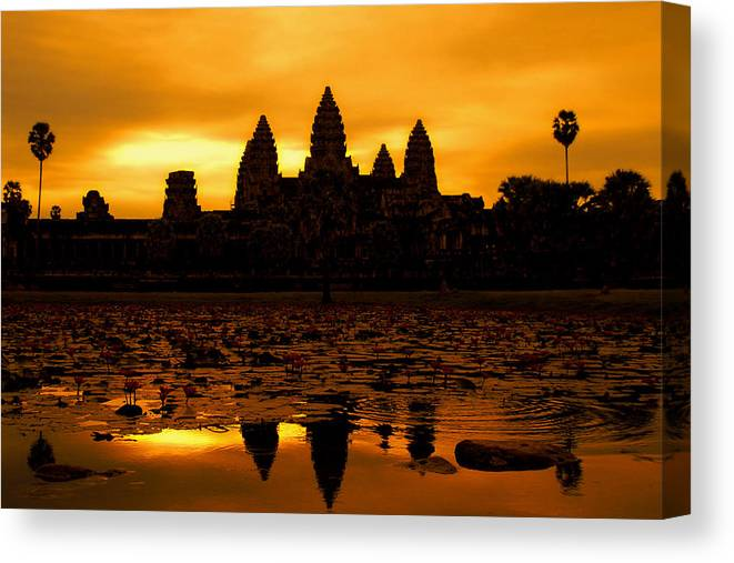 Cambodian Culture Canvas Print featuring the photograph Angkor Wat At Sunrise by David Lazar