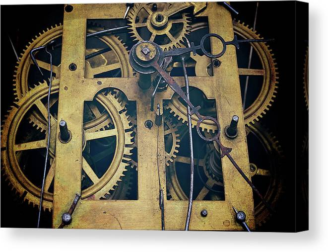 Gear Canvas Print featuring the photograph Antique Clock Gears, Cog And Parts by Melissa Ross