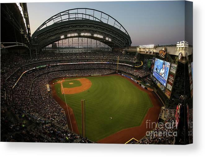 American League Baseball Canvas Print featuring the photograph Arizona Diamondbacks Vs. Milwaukee by Mlb Photos