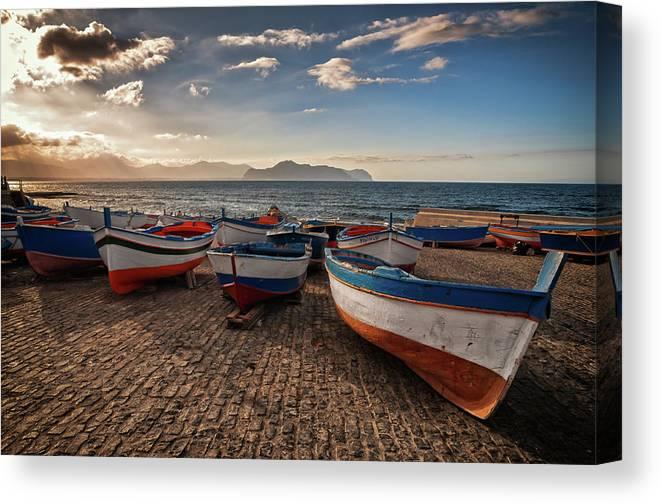 Sicily Canvas Print featuring the photograph Aspra Boatyard by Fabio Montalto