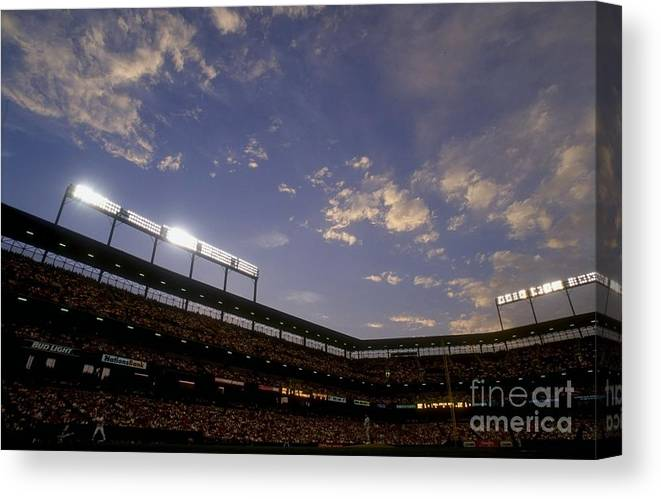 American League Baseball Canvas Print featuring the photograph Athletics V Orioles by Doug Pensinger