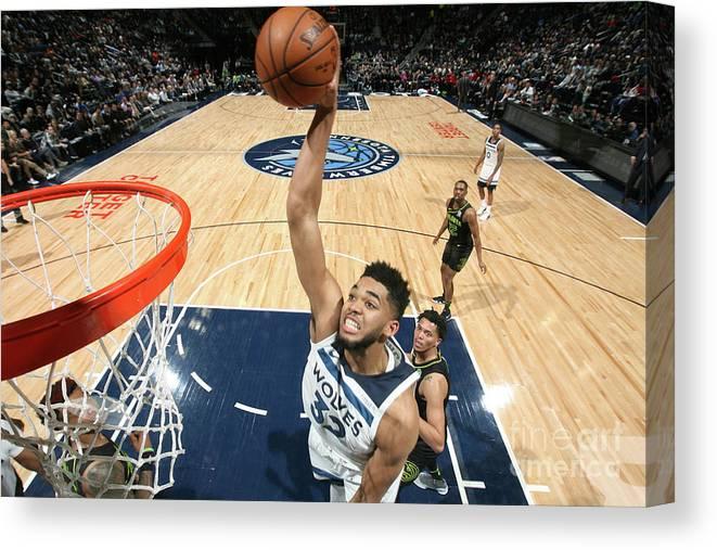 Nba Pro Basketball Canvas Print featuring the photograph Atlanta Hawks V Minnesota Timberwolves by David Sherman