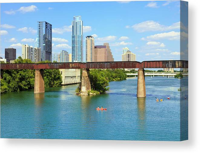 Scenics Canvas Print featuring the photograph Austin Texas Skyline, Colorado River by Dszc