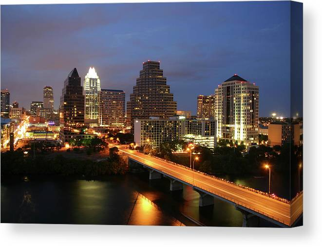Water's Edge Canvas Print featuring the photograph Austin Texas Skyline - Unique by Xjben