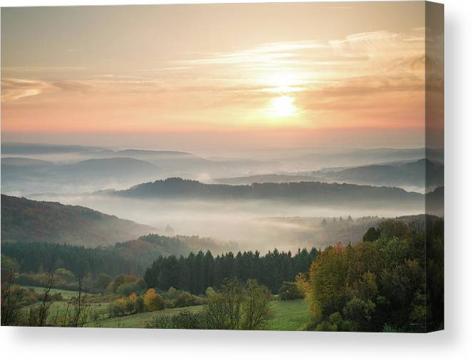 Scenics Canvas Print featuring the photograph Autumn Foggy Sunrise by Marcoschmidt.net