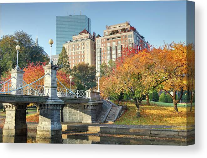 Downtown District Canvas Print featuring the photograph Autumn In Boston by Denistangneyjr